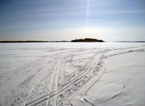 Cross-country skiing on a frozen lake. Nice.