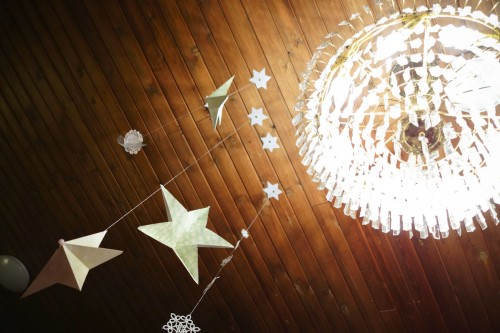 Hanging stars from the ceiling.